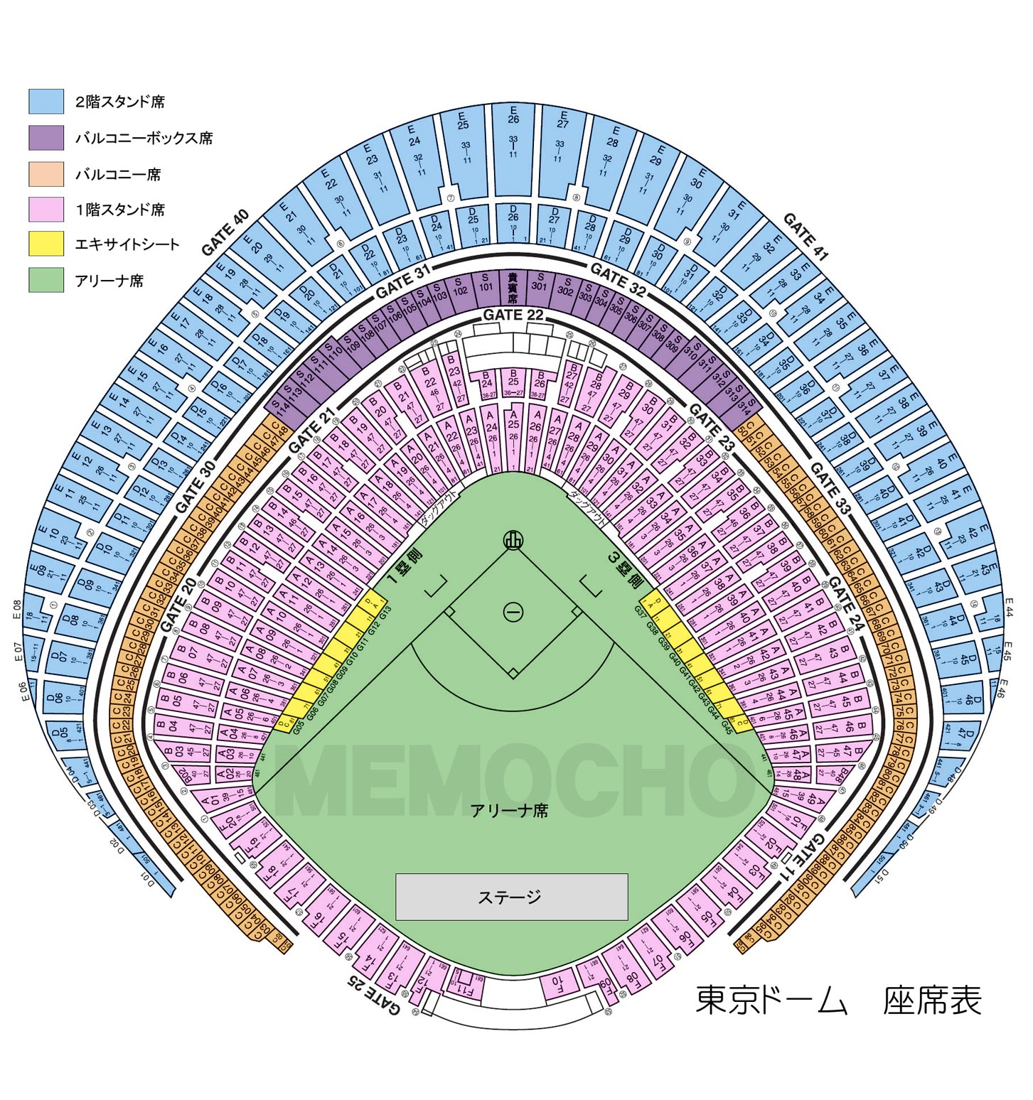 東京ドーム座席表
