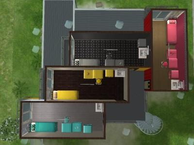 コンテナ寮2階