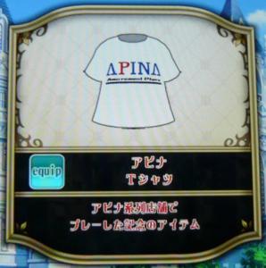 アピナTシャツ アピナ系列店舗でプレーした記念のアイテム