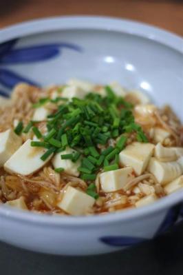 豆腐とえのきだけのピリ辛煮 (レンジで肉なしマーボー豆腐)