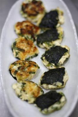 長ねぎ(青い部分)と大和芋の磯辺焼き