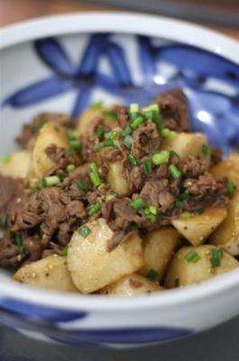 牛肉と皮ごと長芋の甘辛炒め