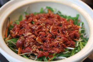 野菜たっぷり土鍋のプルコギ風2