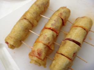 豚キムチチーズの油揚げロール4