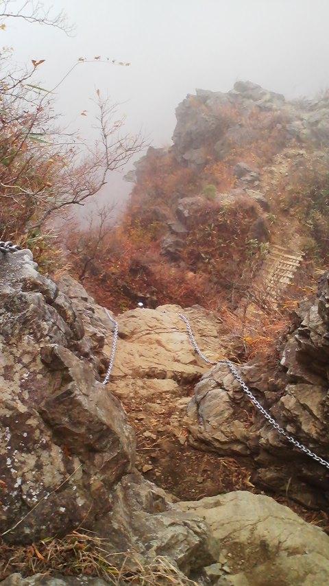 行者岳から新大日方面の鎖場