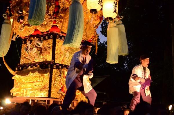 2014年新居浜太鼓祭り 萩岡神社入り 萩生東太鼓台