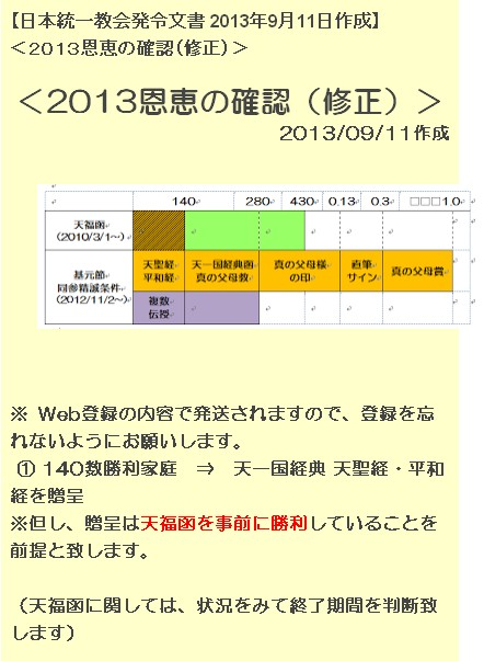 【日本統一教会発令文書 2013年9月11日作成】 1