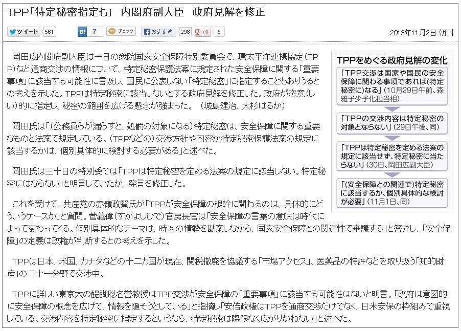 TPP「特定秘密指定も」 内閣府副大臣 政府見解を修正
