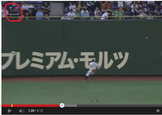 この1分20秒くらいのスロー映像 この赤丸だよ