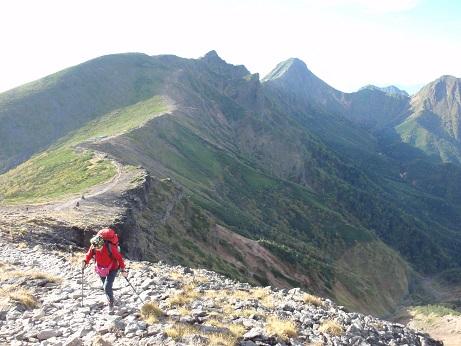 硫黄岳への登り