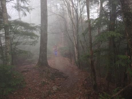 朝靄の縦走路