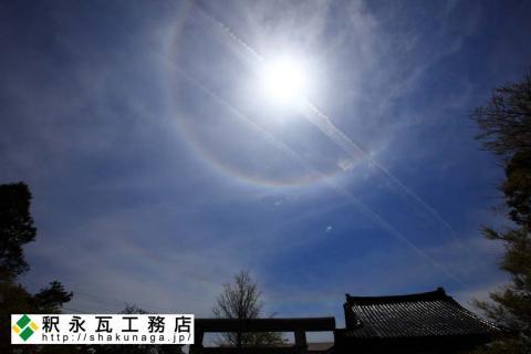水橋日吉神社と二重の日暈(にちうん) (富山市水橋にて)