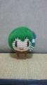 新しい緑色の毛糸で早苗さん 悪くはないですね
