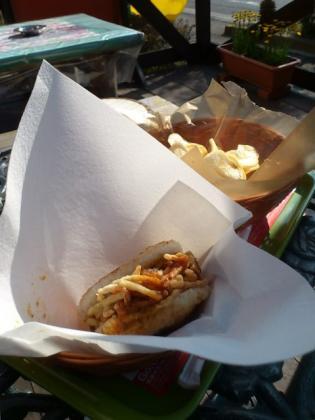 モスバーガー、季節限定モスライスバーガー野菜かきあげ 、モスじゃがチップスとアイスウーロン茶S3