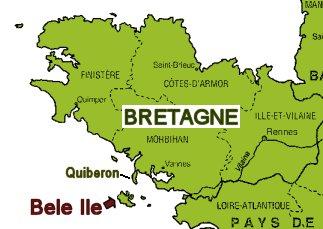 ベルイル島とブルターニュの地図