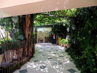 橋掛かりの路の木漏れ陽が美しいホテル玄関downsize