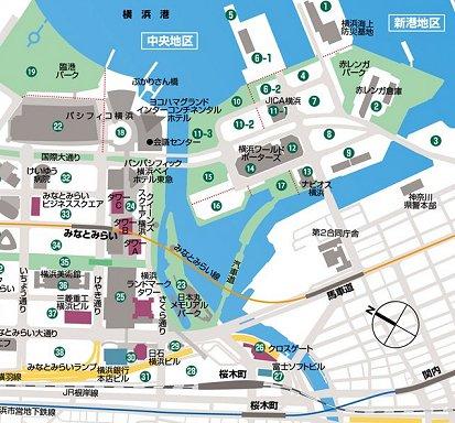 横浜みなとみらい界隈の地図