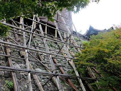 伝統の巧みの技石垣の足場downsize