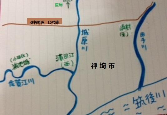 地図・佐賀江川と犬塚