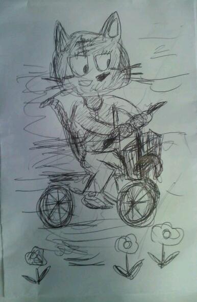 京極達子―猫ー自転車