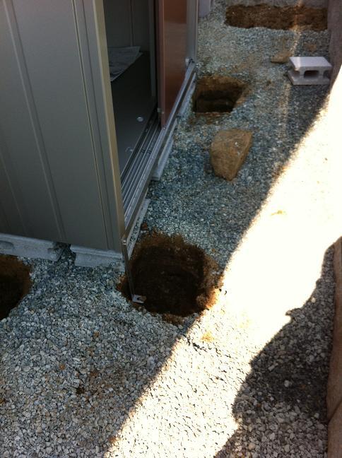 アンカー工事の穴