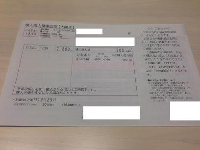電気ご使用量のお知らせ(売電)
