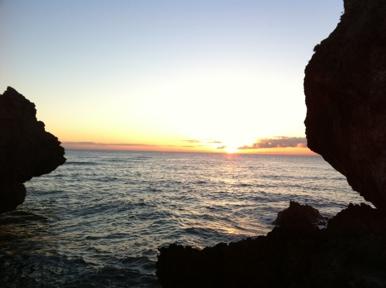西海岸で見たきれいな夕日
