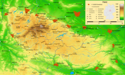 ハルツ山地の地図