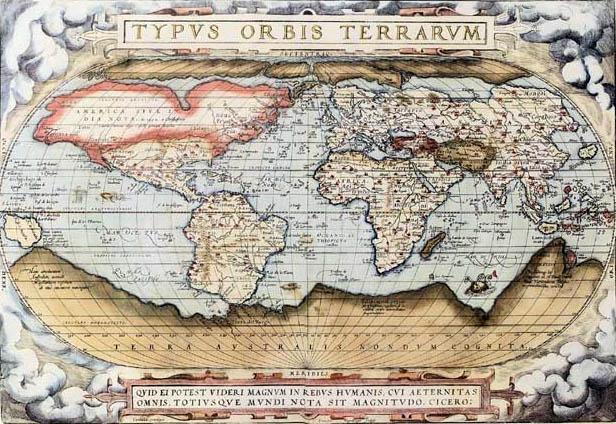 オルテリウスが1570年に作成した世界図