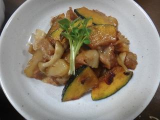 かぼちゃと豚肉の炒め物0923