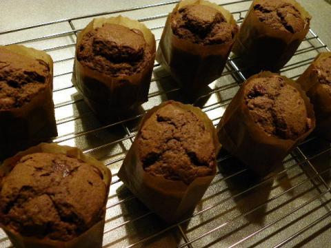チョコレートマフィン 焼き上がり