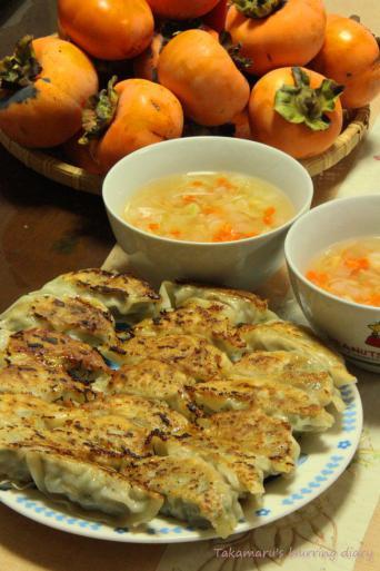 柿はいただきもの、野菜スープはダンナ製