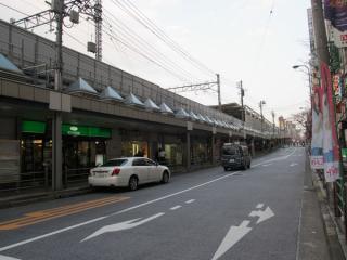 東急大井町線と並行する都道420号線。大井町線の高架下は店舗になっている。