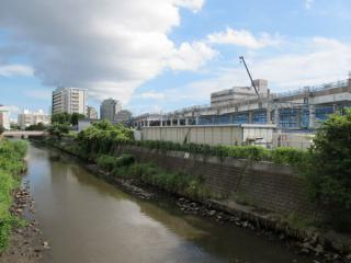 星川1号踏切付近から建設中の高架橋を見る。手前を流れるのは帷子川(かたびらがわ)。