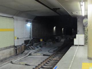 B線側の和光市方。保守用側線のレールが撤去された。