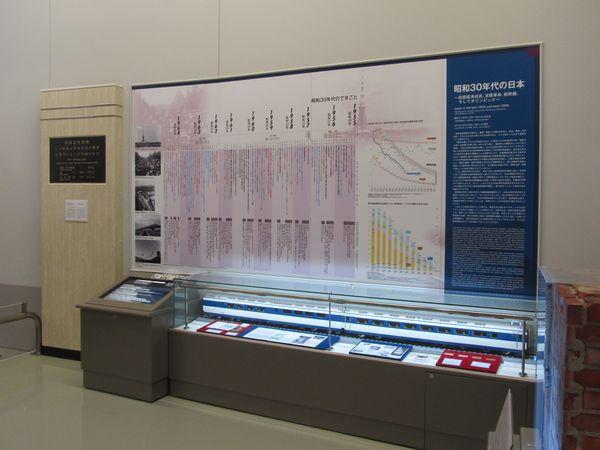 展示室内の壁面は新幹線の歴史を解説したパネルとなっている。