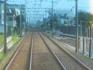 鎌ヶ谷大仏~初富間にある仮線の始点。(下り列車の前面展望)