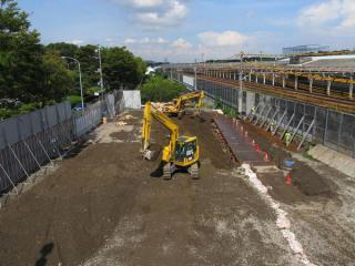 横浜羽沢駅構内の工事はまだ始まっていない。