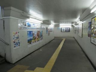 ホーム同士を結ぶ地下道。建設が古く、エレベータなどのバリアフリー設備はない。