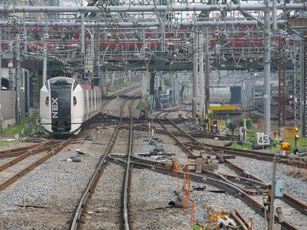 13番線のホーム端から横浜方面を見る。分岐器の撤去・新設はおおむね完了した。