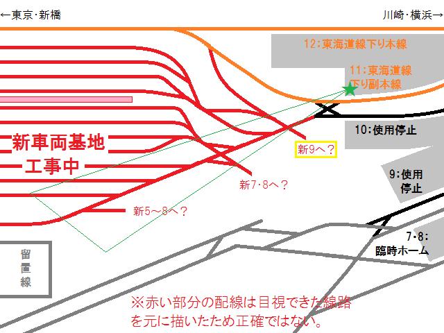 目視できた線路から描き起こした配線図。(正確なものではない)