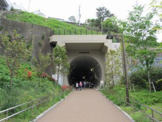 高島山トンネル横浜駅側坑門。落石除けは東横線地上時代から設置されているもの。