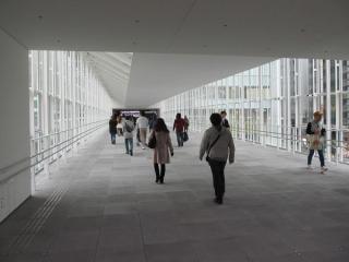 連絡通路の内部。白を基調とした明るいデザイン。