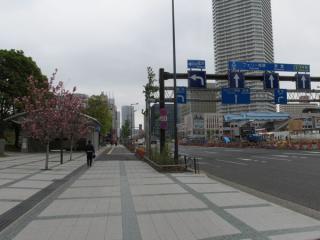 豊洲駅地上の晴海通り。右奥に見える水色の高架橋は新交通ゆりかもめ。