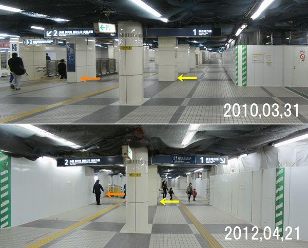 地下2階は今回大部分が囲いで覆われており工事の様子はほとんど確認できなかった