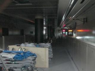 7月28日の南流山駅ホーム延伸工事の様子(つくば方)