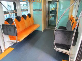 車端部の優先席は一般席とは配色が逆になっており、上部には荷物棚が付く。