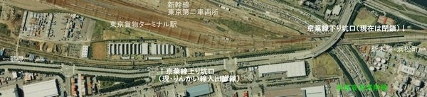 【原寸大・容量注意】東京貨物ターミナル駅付近の1989年の航空写真。矢印を付けた所が京葉線台場トンネルの坑口で、軌道は敷設されず放置されていたことが分かる。