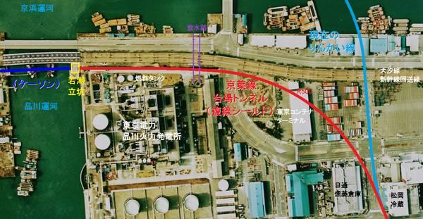 八潮トンネル(複線シールド)の位置。