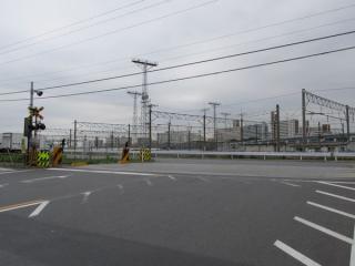 東京貨物ターミナル駅構内に入る踏切。遮断器が取り外されてしまっている。